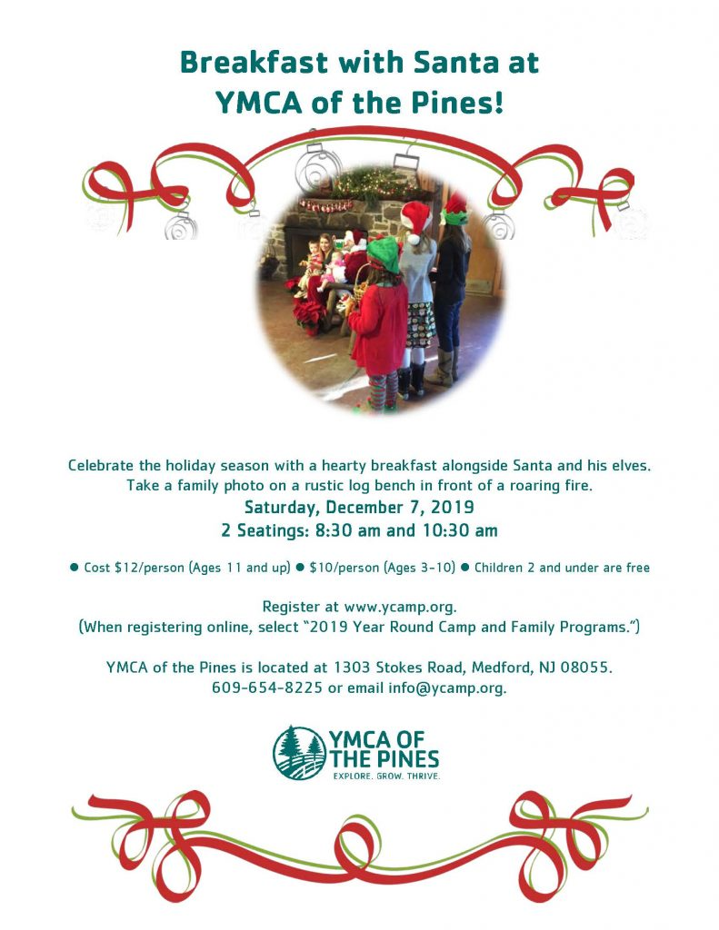 Breakfast with Santa 8:30 am Seating @ YMCA of the Pines, Ocky Dining Hall | Medford | New Jersey | United States